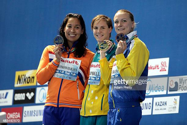 Gold medallist Bronte Campbell of Australia poses with silver medallist Ranomi Kromowidjojo of the Netherlands and bronze medallist Sarah Sjostrom of...
