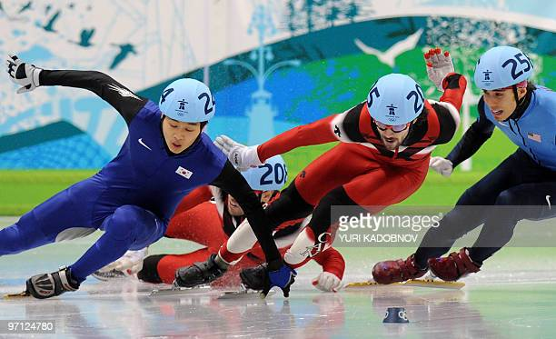 Gold medallist Canada's Charles Hamelin competes with silver medallist South Korea's SiBak Sung and bronze medallist Canada's FrancoisLouis Tremblay...
