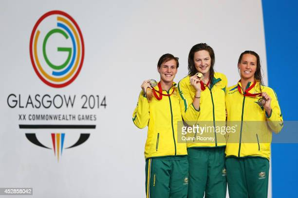 Gold medallist Cate Campbell of Australia poses with silver medallist Bronte Campbell of Australia and bronze medallist Emma McKeon of Australia...