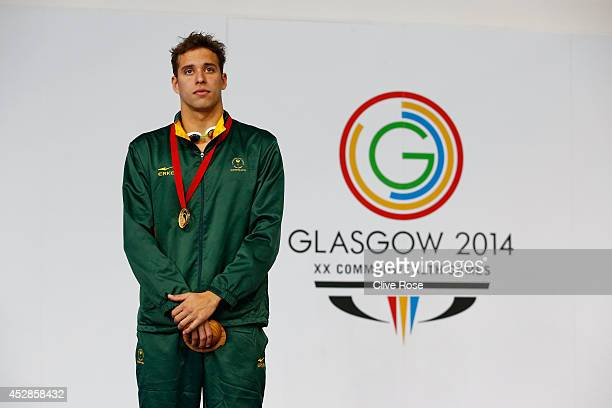 Gold medallist Chad le Clos of South Africa poses during the medal ceremony for the Men's 100m Butterfly Final at Tollcross International Swimming...