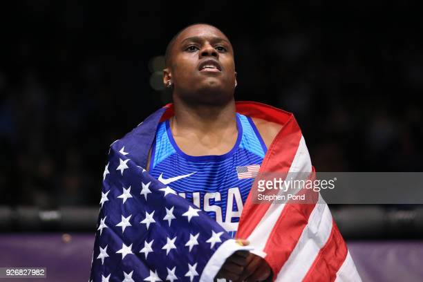 Gold Medallist Christian Coleman of United States celebrates winning the 60 Meters Mens Final during the IAAF World Indoor Championships on Day Three...