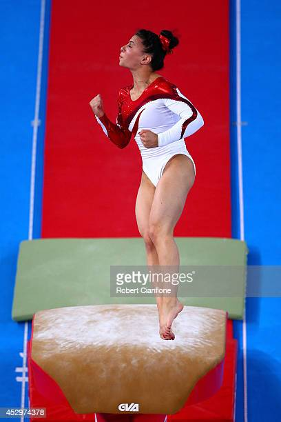 Gold medallist Claudia Fragapane of England competes in the Women's Vault Final during day eight of the Glasgow 2014 Commonwealth Games on July 31,...