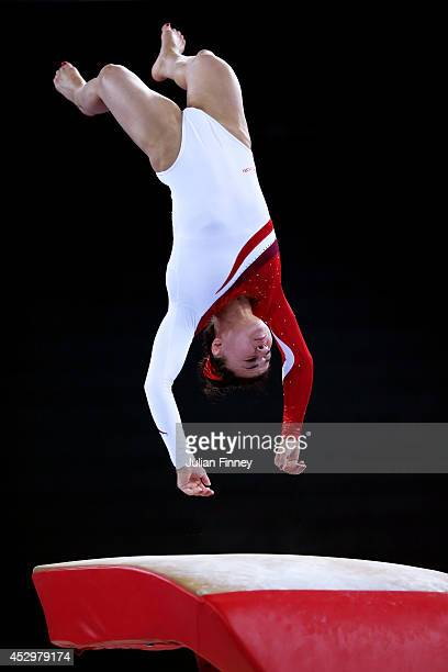 Gold medallist Claudia Fragapane of England competes in the Women's Vault Final during day eight of the Glasgow 2014 Commonwealth Games on July 31...