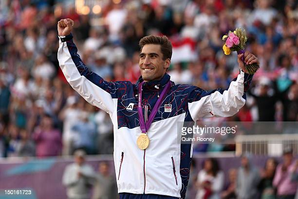 Gold medallist David Svoboda of Czech Republic celebrates during the medal ceremony for the Men's Modern Pentathlon on Day 15 of the London 2012...
