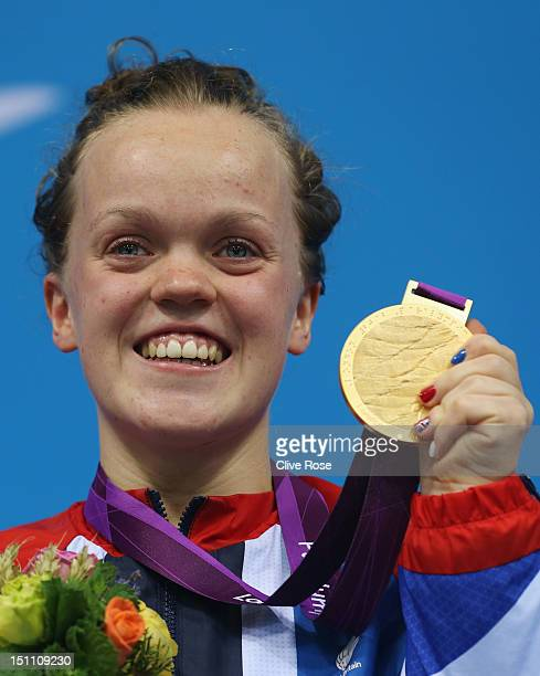 Gold medallist Eleanor Simmonds of Great Britain poses on the podium during the medal ceremony for the Women's 400m Freestyle S6 Final on day 3 of...