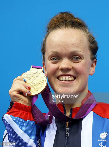 Gold medallist Eleanor Simmonds of Great Britain poses on the podium during the medal ceremony for the Women's 200m Individual Medley SM6 finalon day...
