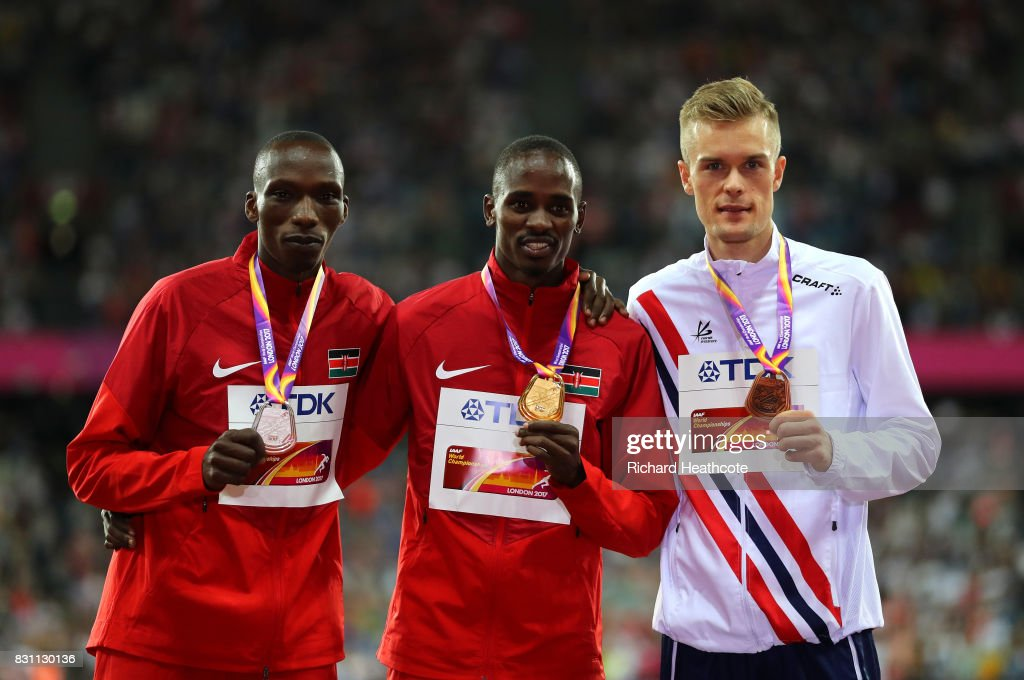 Gold medallist Elijah Motonei Manangoi of Kenya poses with silver medallist Timothy Cheruiyot of Kenya and bronze medallist Filip Ingebrigtsen of Norway after the Men's 1500m Final during day ten of the 16th IAAF World Athletics Championships London 2017 at The London Stadium on August 13, 2017 in London, United Kingdom.