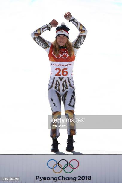 Gold medallist Ester Ledecka of the Czech Republic celebrates during the victory ceremony for the Alpine Skiing Ladies SuperG on day eight of the...