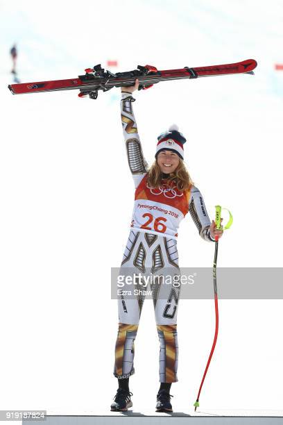 Gold medallist Ester Ledecka of the Czech Republic celebrates during the victory ceremony for the Alpine Skiing Ladies Super-G on day eight of the...