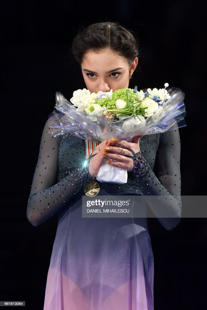 Gold medallist Evgenia Medvedeva of Russia poses with her medal on the podium after the woman's Free Skating event at the ISU World Figure Skating Championships in Helsinki, Finland on March 31, 2017. PHOTO / Daniel MIHAILESCU