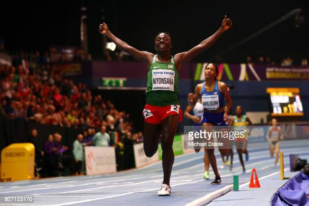 Gold Medallist Francine Niyonsaba of Burundi celebrates winning the Women's 800 Metres Final during the IAAF World Indoor Championships on Day Four...