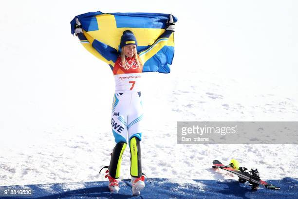 Gold medallist Frida Hansdotter of Sweden celebrates during the victory ceremony for the Ladies' Slalom Alpine Skiing at Yongpyong Alpine Centre on...