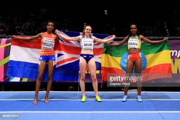 Gold Medallist, Genzebe Dibaba of Ethopia, Silver Medallist, Sifan Hassan of Netherlands and Bronze Medallist, Laura Muir of Great Britain celebrate...