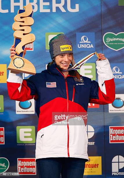 Gold medallist Hannah Kearney of USA poses during the medal ceremony for the Women's Dual Moguls Final of the FIS Freestyle Ski and Snowboard World...