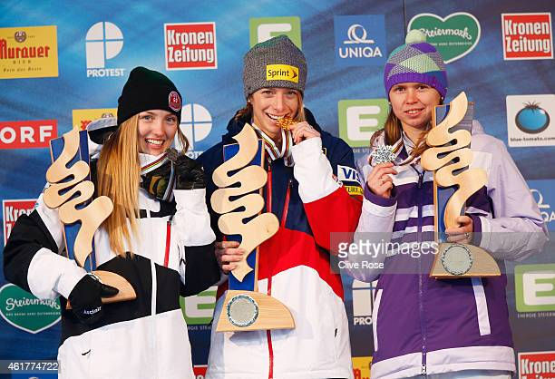 Gold medallist Hannah Kearney of USA poses with silver medallist Justine DufourLapointe of Canada and bronze medallist Yulia Galysheva of Kazakhstan...
