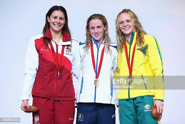 Gold medallist Hannah Miley of Scotland poses with Silver medallist Aimee Willmott of England and Bronze medallist Keryn McMaster of Australia during...