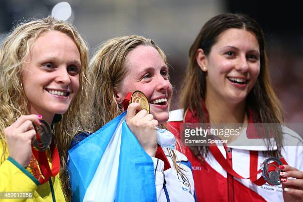Gold medallist Hannah Miley of Scotland poses with Silver medallist Aimee Willmott of England and Bronze medallist Keryn McMaster of Australia after...