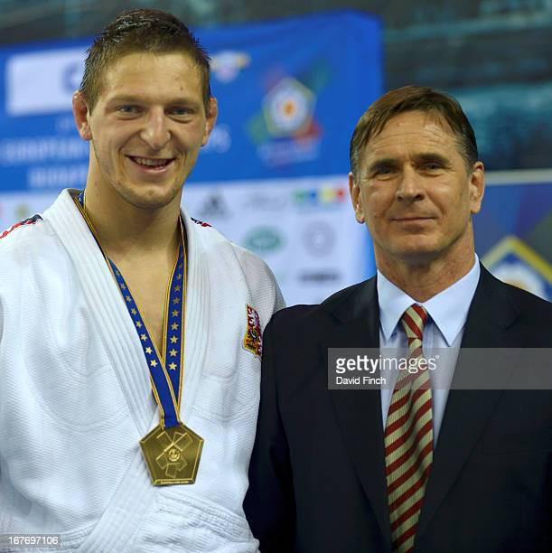 Gold medallist in the u100kgs category Lukas Krpalek of the Czech Republic poses with fellow countryman and EJU director Vladimir Barta during the...