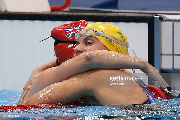 Gold medallist Jacqueline Freney of Australia is congratulated by bronze medallist Susannah Rodgers of Great Britain after competing in the Women's...