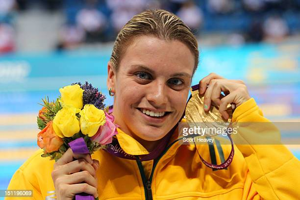 Gold medallist Jacqueline Freney of Australia poses following the medal ceremony for the Women's 100m Freestyle S7 final on day 5 of the London 2012...
