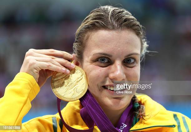 Gold medallist Jacqueline Freney of Australia poses following the medal ceremony for the Women's 400m Freestyle S7 final on day 8 of the London 2012...