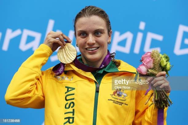 Gold medallist Jacqueline Freney of Australia poses on the podium during the medal ceremony for the Women's 50m Freestyle S7 final on day 6 of the...