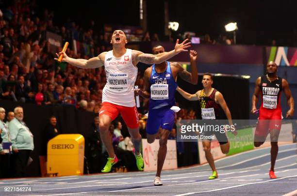 Gold Medallist, Jakub Krzewina of Poland celebrates winning the Men's 4 x 400 Metres Relay Final during the IAAF World Indoor Championships on Day...