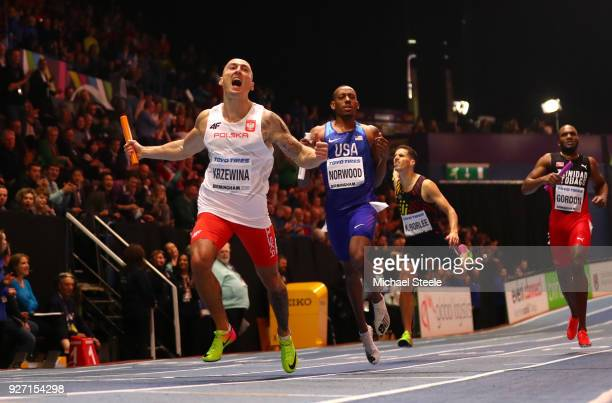 Gold Medallist Jakub Krzewina of Poland celebrates winning the Men's 4 x 400 Metres Relay Final during the IAAF World Indoor Championships on Day...