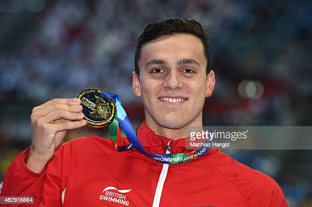 Gold medallist James Guy of Great Britain poses during the medal ceremony in the Men's 200m Freestyle Final on day eleven of the 16th FINA World...