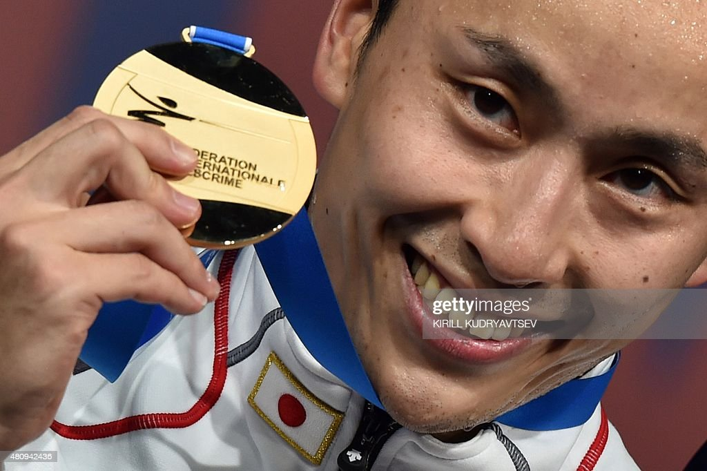 Gold medallist Japan's Yuki Ota poses with his medal after the men's foil event at the 2015 World Fencing Championships in Moscow on July 16, 2015.