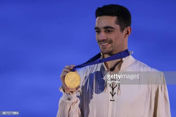 Gold medallist Javier Fernandez poses with his medal after the men's free skating at the 2018 ISU European Figure Skating Championships at Megasport...