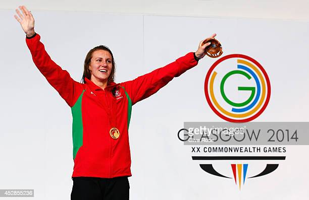 Gold medallist Jazz Carlin of Wales celebrates during the medal ceremony for the Women's 800m Freestyle Final at Tollcross International Swimming...