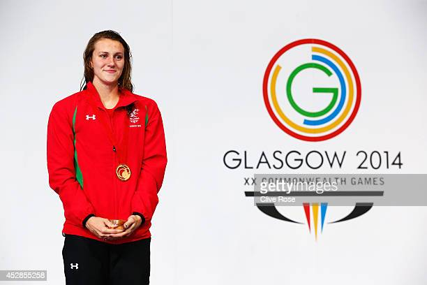 Gold medallist Jazz Carlin of Wales poses during the medal ceremony for the Women's 800m Freestyle Final at Tollcross International Swimming Centre...