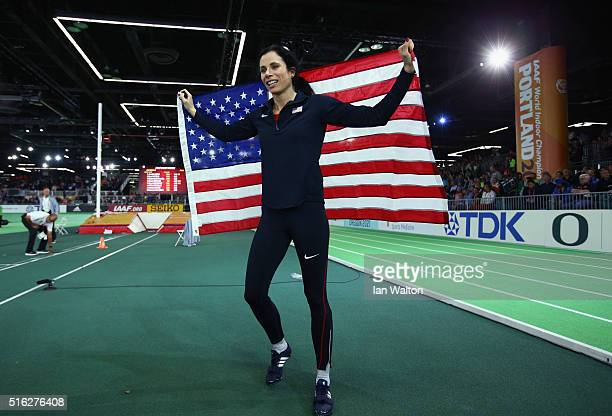Gold medallist Jennifer Suhr of the United States celebrates after the Women's Pole Vault Final during day one of the IAAF World Indoor Championships...