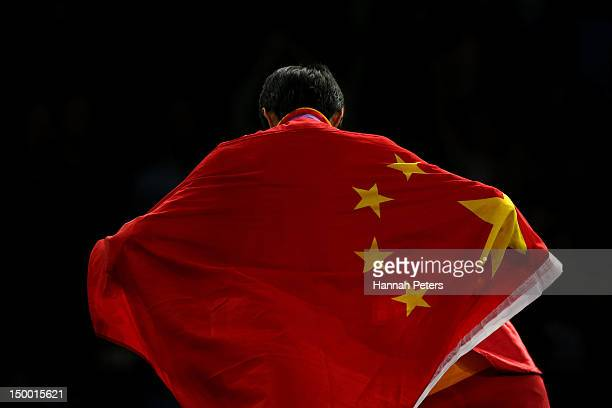 Gold medallist Jingyu Wu of China celebrates during the medal ceremony for the Women's 49kg Taekwondo on Day 12 of the London 2012 Olympic Games at...