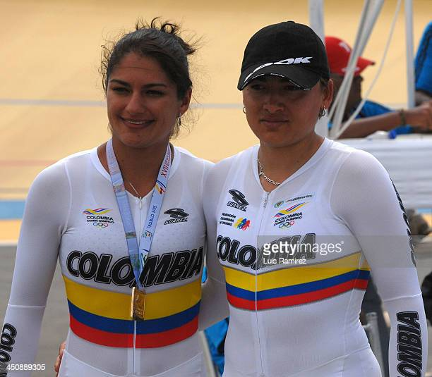 Gold medallist Juliana Gaviria and Diana Maria Garcia of Colombia in the Final of the Speed Team Women test as part of the XVII Bolivarian Games...