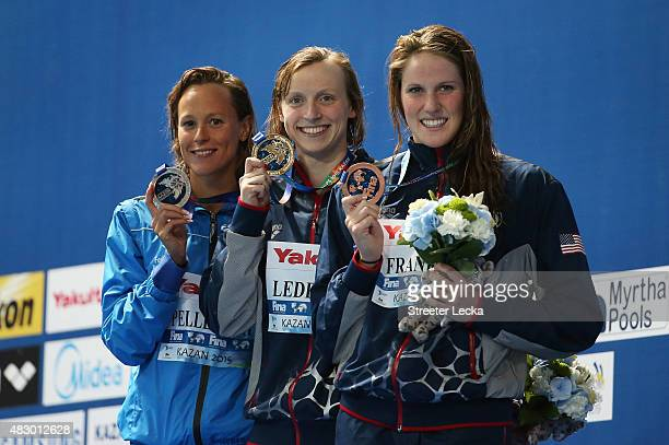 Gold medallist Katie Ledecky of the United States poses with silver medallist Federica Pellegrini of Italy and bronze medallist Missy Franklin of the...