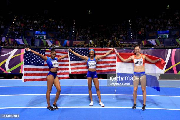 Gold Medallist Kendra Harrison of United States celebrates winning the 60 Meters Hurdles Final Womens with Christina Manning of United States and...