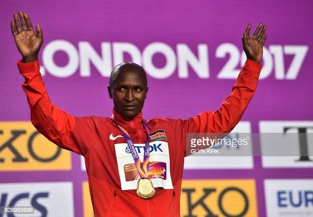 Gold medallist Kenya's Geoffrey Kipkorir Kirui takes part in a medal ceremony after the men's marathon athletics event at the 2017 IAAF World...