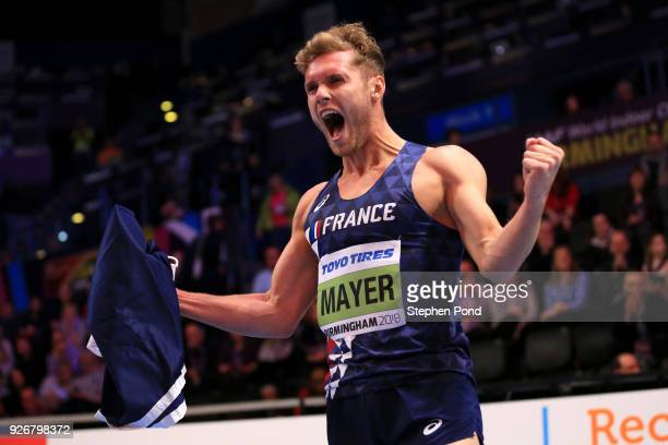 Gold Medallist Kevin Mayer of France celebrates after winning the Heptathlon Mens during the IAAF World Indoor Championships on Day Three at Arena...