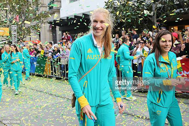 Gold medallist Kim Brennan walks the parade during the Australian Olympic Team Melbourne Welcome Home Celebration at Bourke Street on August 31 2016...
