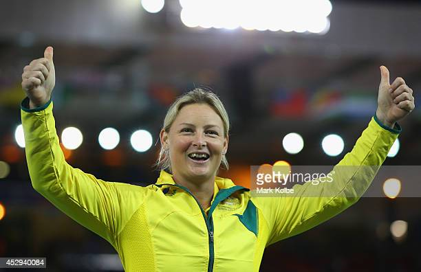 Gold medallist Kim Mickle of Australia on the podium during the medal ceremony for the Women's Javelin Throw at Hampden Park during day seven of the...