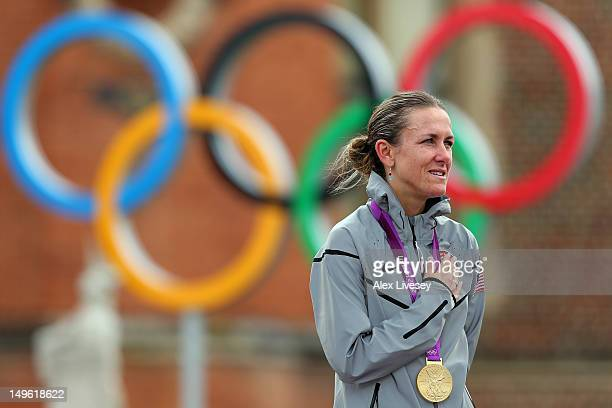 Gold medallist Kristin Armstrong of the United State celebrates during the medal ceremony after the Women's Individual Time Trial Road Cycling on day...