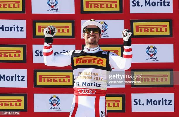 Gold medallist Marcel Hirscher of Austria celebrates after the Men's Slalom during the FIS Alpine World Ski Championships on February 19 2017 in St...