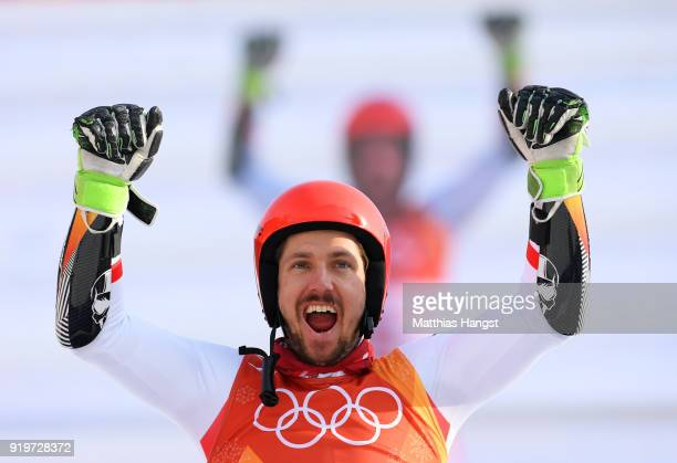 Gold medallist Marcel Hirscher of Austria celebrates during the victory ceremony for the Alpine Skiing Men's Giant Slalom on day nine of the...