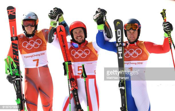 Gold medallist Marcel Hirscher of Austria poses with silver medallist Henrik Kristoffersen of Norway and bronze medallist Alexis Pinturault of France...