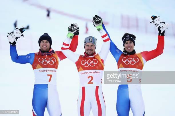 Gold medallist Marcel Hirscher of Austria silver medallist Alexis Pinturault of France and bronze medallist Victor MuffatJeandet of France pose on...