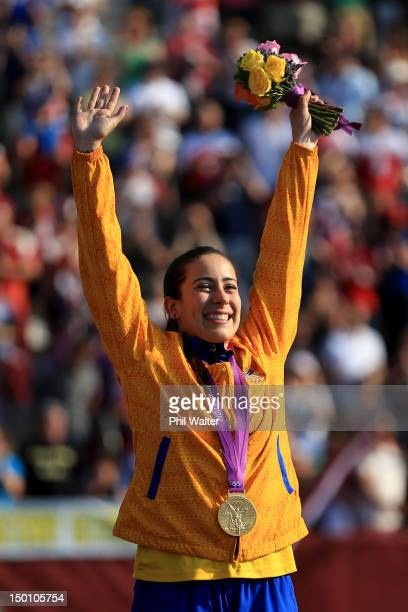 Gold medallist Mariana Pajon of Colombia celebrates during the medal ceremony for the Women's BMX Cycling Final on Day 14 of the London 2012 Olympic...