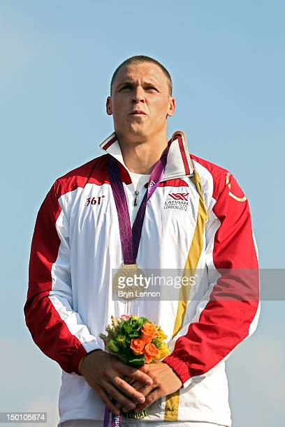 Gold medallist Maris Strombergs of Latvia celebrates during the medal ceremony for the Men's BMX Cycling Final on Day 14 of the London 2012 Olympic...