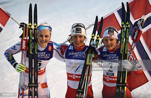 Gold medallist Marit Bjoergen of Norway poses with silver medallist Stina Nilsson of Sweden and bronze medallist Maiken Caspersen Falla of Norway...